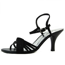 Women's Open Toe Strappy Evening Shoe with Adjustable Strap Small Heel Shoe