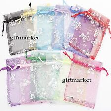 50/100pcs Organza Wedding Party Favor Butterfly Gift Candy Bag Jewellery pouches