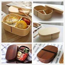 Natural Wooden Lunch Box Rectangular Bento Boxes Sushi Snack Food Container Case