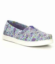 NWT GIRLS YOUTH CLASSICS TOMS PURPLE CANVAS DITSY FLORAL FLATS SHOES SZ 6Y
