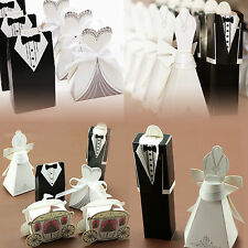 50/100/200 Wedding Favor Candy Boxes Bridal Groom Boxes Tuxedo Ribbon Gifts