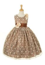 New Lace Charmeuse Two Tone Flower Girls Dress Party Easter Pageant Christmas