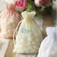 Lace Organza Gift Party Candy Beads Favor Jewelry Drawstring Pouch Bags 10x15cm