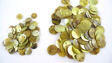 24 OLIVINE GREEN Dyed Flat Round Shell Charms Pendants Coin Drops 10mm/15mm