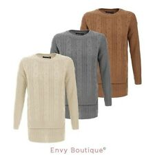 NEW WOMENS LADIES KNIT CABLE CROP TOP BAGGY WAFFLE KNITTED CHUNKY JUMPER SWEATER