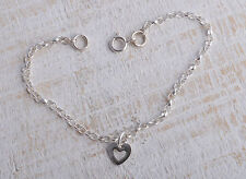 STERLING SILVER MINI HOLLOW HEART CHARM ANKLE CHAIN BRACELET ANKLET 925