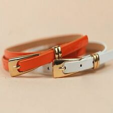 Girl Leather Buckle Candy Color Decoration Multicolor Belt Waist Thin Skinny