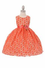 New Flower Girl Burn Out Coral Lace Dress Pageant Wedding Party Elegant 1223