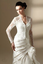 Ivory Wedding Jackets Long Sleeve Lace Appliques Bridal Jackets Buttons Custom