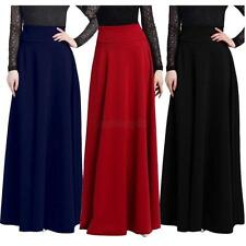 Womens Long Stretch Full Length Skirt Gypsy Casual Loose Maxi Skirts Dress S-5XL