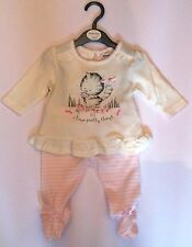 Baby girl cotton outfit / top and pant set pink & white 0 - 12 Months babaluno