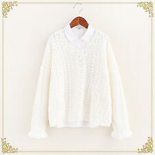Mori Girl Long Sleeve Pullover Sweater Japanese Loose Preppy Style Coat