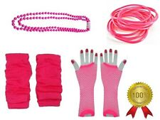 Pink Legwarmers Neon Fishnet Gloves Bead Necklace Bangles 1980s Race For Life