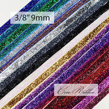 10 Yards 3/8 inch 9mm Sparkle Metallic Cheer Glitter Velvet Ribbon - 20 Colors