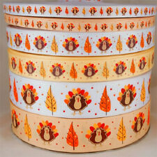 "10/20/50 yds Fall Thanksgiving Turkey  Grosgrain Ribbon 3/8"" 7/8"" 1.5"""