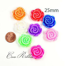 25mm 8/16/24/50pcs Faux Rhinestone Flower Rose AB Color Flatback Resin Cabochons