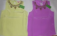 NWT Women's Lilly Pulitzer Silk Beaded Embellished Havana Top Blouse XS M