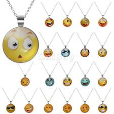 21 Style Funny Mood Face Necklace Chain Jewelry Glass Fancy Emoji Smiley Pendant