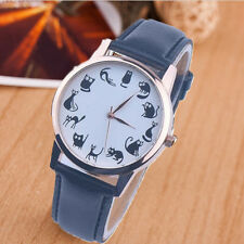 Women Fashion Casual Watch Cat Dial Leather Stainless Steel Quartz Wrist Watches