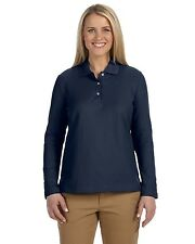 NEW Devon & Jones Polo Shirt Top Women's Pima Pique Long Sleeve D110W