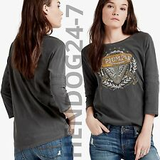 LUCKY BRAND TRIUMPH MOTORCYCLE WOMEN'S CREW NECK 3/4 SLEEVE TEE SZ XS-XL