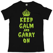 DRIPPING KEEP CALM AND CARRY ON HALLOWEEN MENS PRINTED FANCY DRESS T-SHIRT