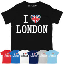 ULTIMATE I LOVE LONDON MENS UNION JACK HEART BRITISH PRINTED T-SHIRT