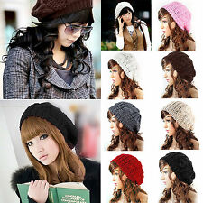 Women Ladies Warm Knitted Baggy Slouchy Crochet Beret Beanie Winter Ski Hat Caps