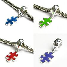 925 Sterling Silver Autism Awareness Puzzle Bead for European Charm Bracelets