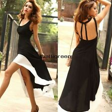New Women U Neck Backless Asymmetric Hem Cocktail Evening Party Long Dress WN