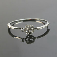 New Gold Silver Crystal Rhinestone Flower Rose Bangle Bracelet Jewelry Gift