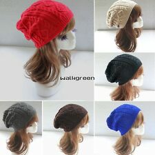 Women Winter Warm Knit Crochet Beanie Hat Skull Ski Cap Baggy Cable Knit WN