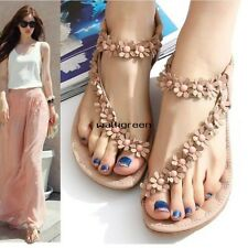 Women's Summer Casual Flats Bohemia Flower Floral Beach Sandals Strappy WN