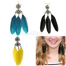 Feather Dream Catcher Earrings Chain Dangle Eardrop Fashion Handmade Jewelry