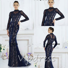Evening Dresses Long Sleeve Lace Appliques High Neck Floor Length Prom Gowns New