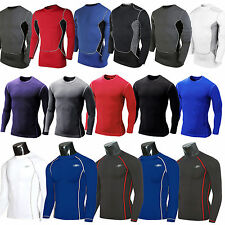Mens Compression Under Baselayers Armour Long Sleeve Fitness Shirt Jersey Gear
