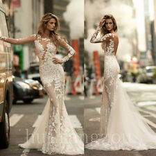 Long Sleeves Wedding Dresses Bridal Gowns Formal Mermaid Size 4 8 12 16 Plus New