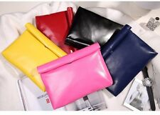 simple glossy PU leather envelope clutch bag purses large capacity fashion 2017