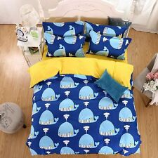 Twin & Queen Size Reversible Blue and Yellow Whale Design Duvet Cover Bed Set