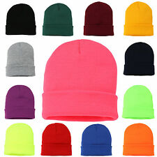 Beanie Hat Mens Ladies Slouch Winter Woolly Ski Knitted Turn Up Neon Unisex NEW
