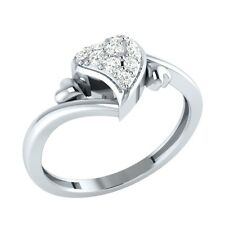 0.15 ct Round Cut Natural Diamond Solid Gold Beautiful Heart Promise Ring