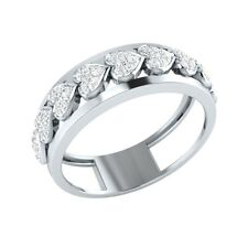 0.26 ct Round Natural Diamond Solid Gold Briliant Heart Shape Promise Band Ring