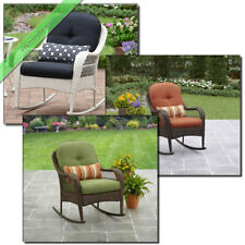 Rocking Chair Outdoor Patio Furniture Wicker Backyard Porch Rocker, Orange/Green