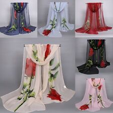 Fashion Women Flower Print Neck Chiffon Shawl Scarf Scarves Wrap Stole Warm Gift