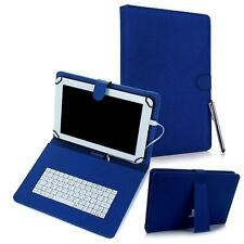 "For Android 7"" Tablet Universal Kickstand PU Leather USB Keyboard Box Case Blue"