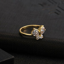 fashion butterfly ring 18K gold plated zircon alloy woman jewelry 3 size gifts