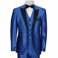 New Mens 3 Piece Suit Electric Blue Tailored Fit Black Lapel Wedding Prom Party