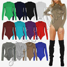 Womens Celebs Turtle Polo Neck Ladies Plain Long sleeve Leotard Bodysuit Top Hot