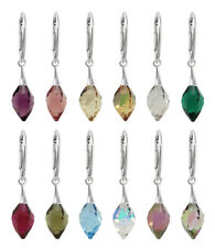 Sterling Silver Twisted Drop Earrings Hooks with SWAROVSKI 6540 12mm Crystals
