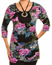 Takoni Floral Blouse Womens Scoop Neck Shirt Stretch Knit Top Halter ORing Strap